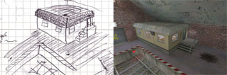 A comparison between a sketch and the final version.