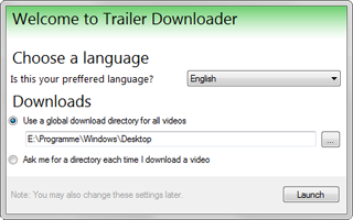 The first run dialog of 'Trailer Downloader'.